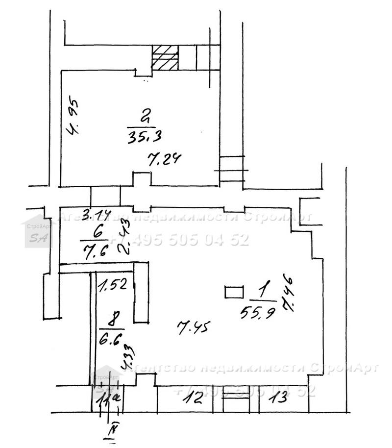 7850 Аренда помещения под банк м. Белорусская, 1-я Тверская-Ямская д.25, 111кв.м без комиссии.