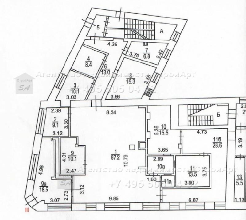 7921 Аренда помещения под банк Пятницкая д.11/23, 350кв.м без комиссии